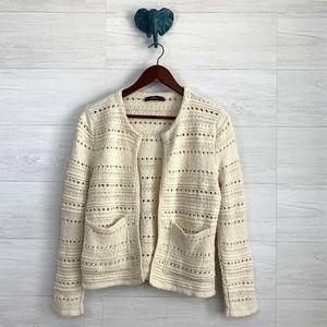 Zara Knit Open Crochet Knit Cardigan